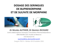 Dosage des seringues de buprénorphine et de morphine